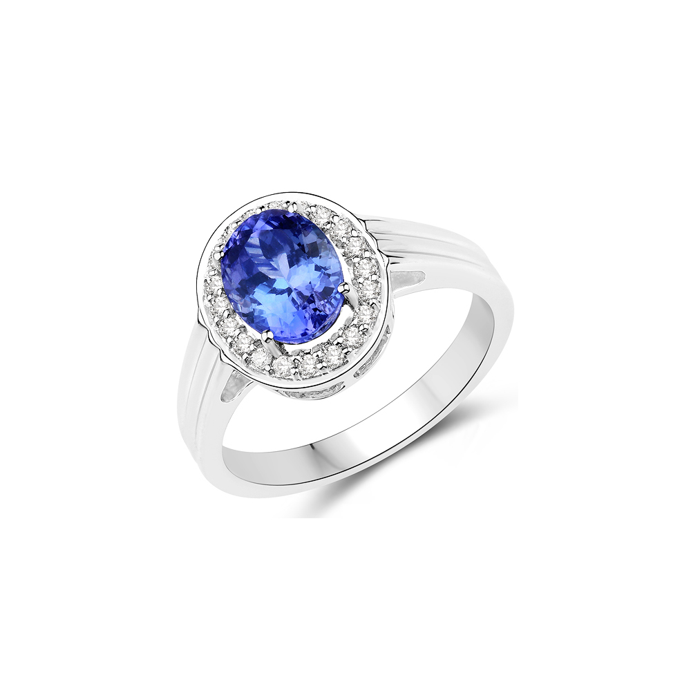 Lot 3135: 2.24 CTW Genuine Tanzanite & White Diamond 14K White Gold Ring