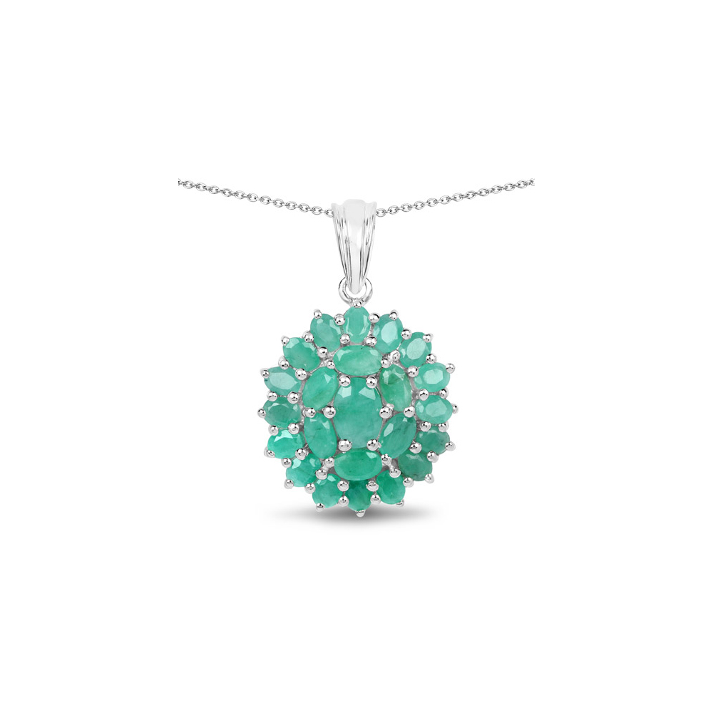 4.09 CTW Genuine Emerald .925 Sterling Silver Pendant