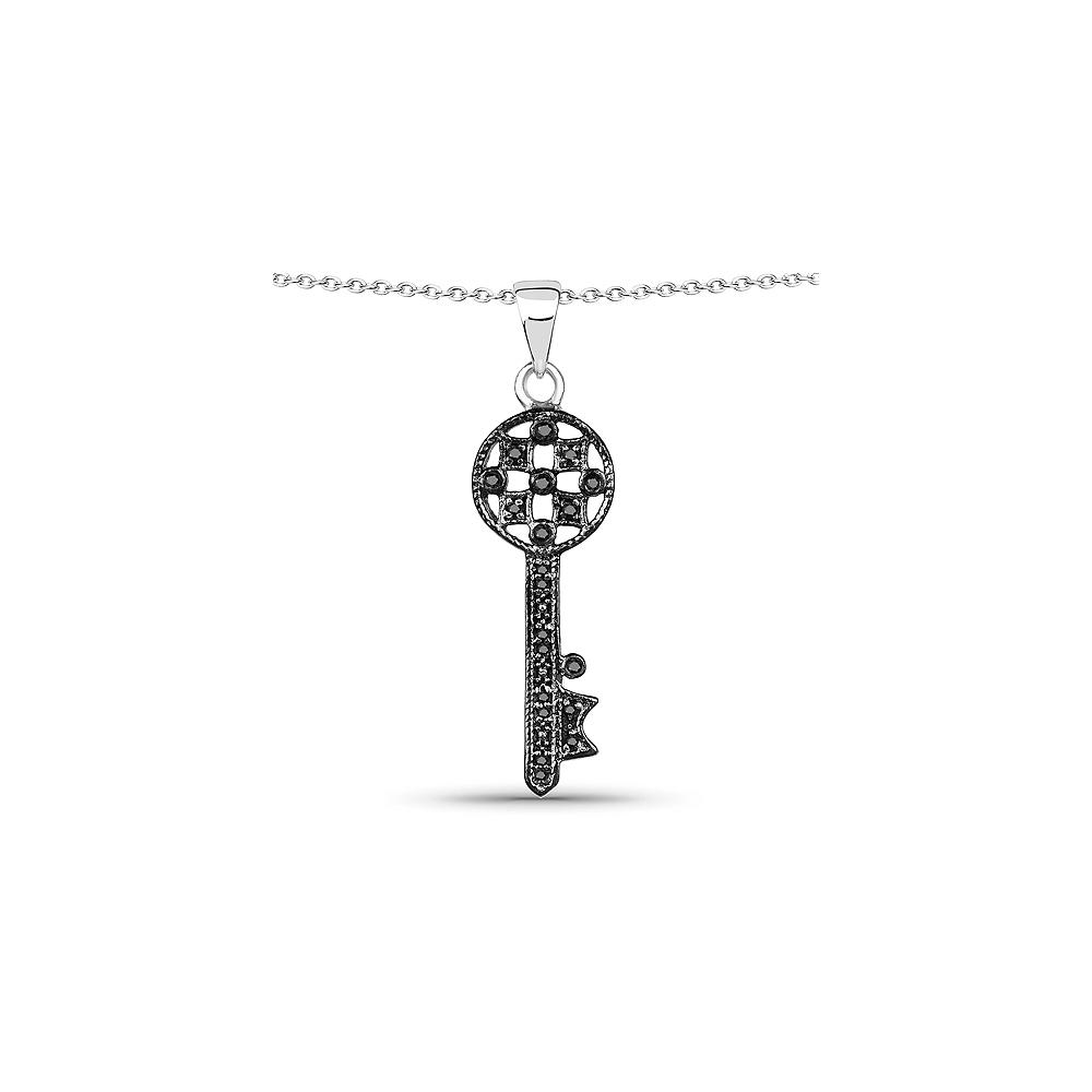 0.09 CTW Genuine Black Diamond .925 Sterling Silver Pendant