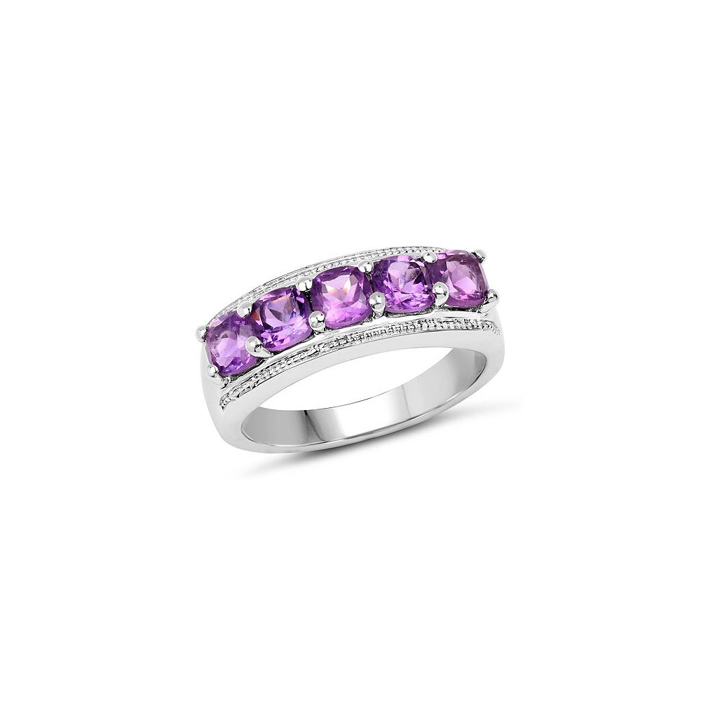 1.50 CTW Genuine  Amethyst .925 Sterling Silver Ring