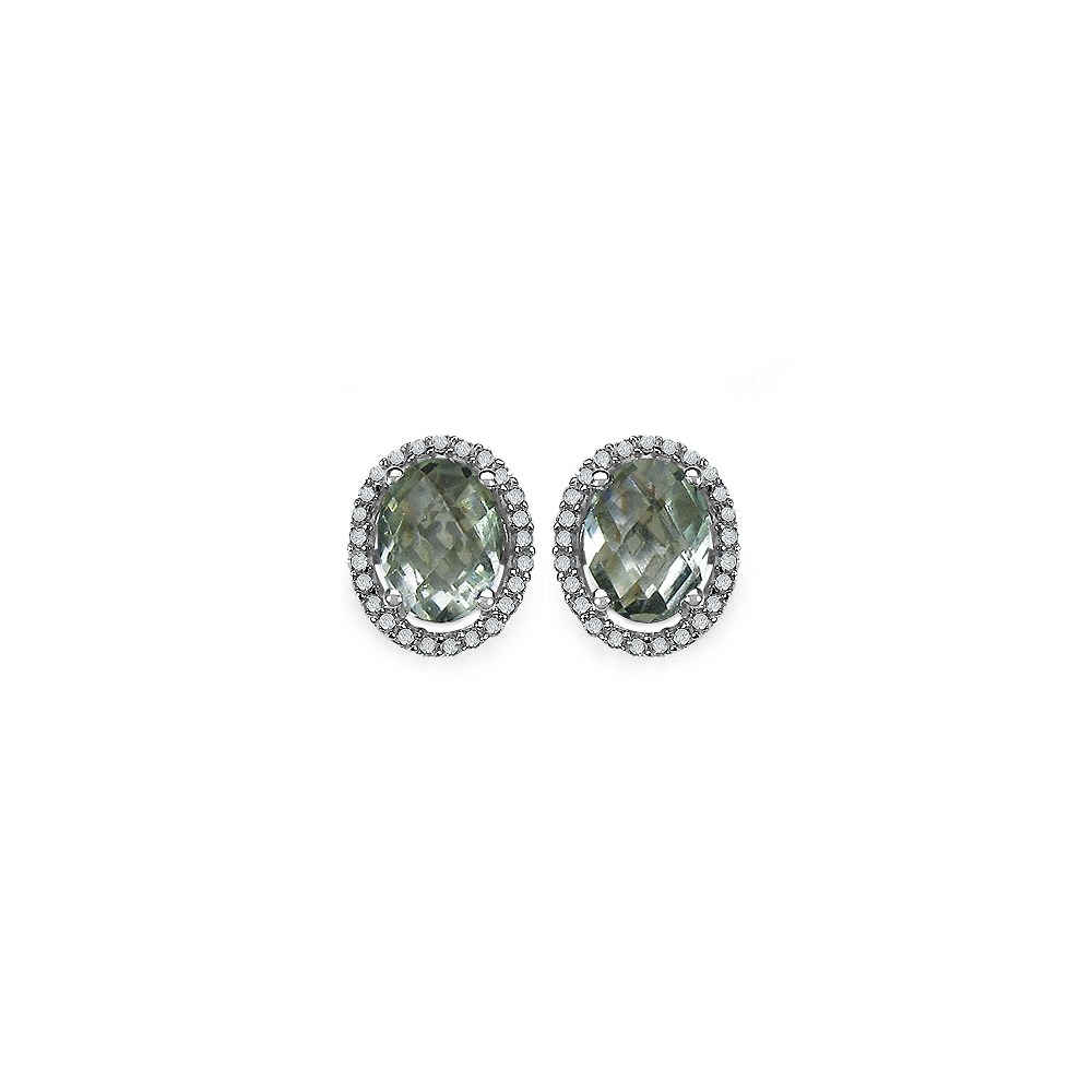 Lot 3185: 2.43 CTW Genuine Green Amethyst & White Diamond .925 Sterling Silver Earrings