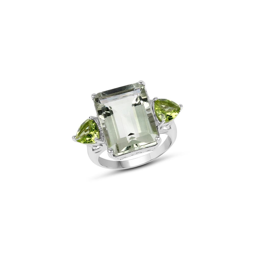 11.90 CTW Genuine Green Amethyst & Peridot .925 Sterling Silver Ring