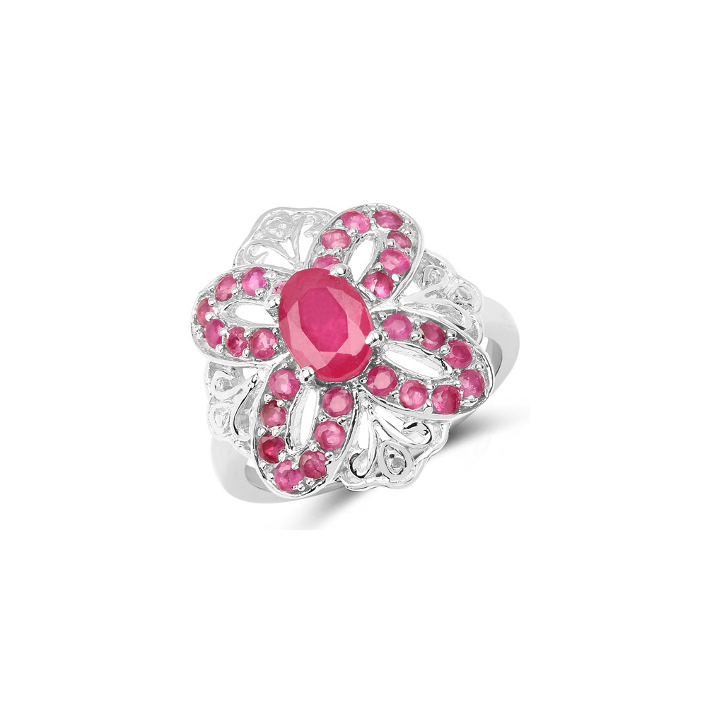2.12 CTW Glass Filled Ruby & Ruby .925 Sterling Silver Ring