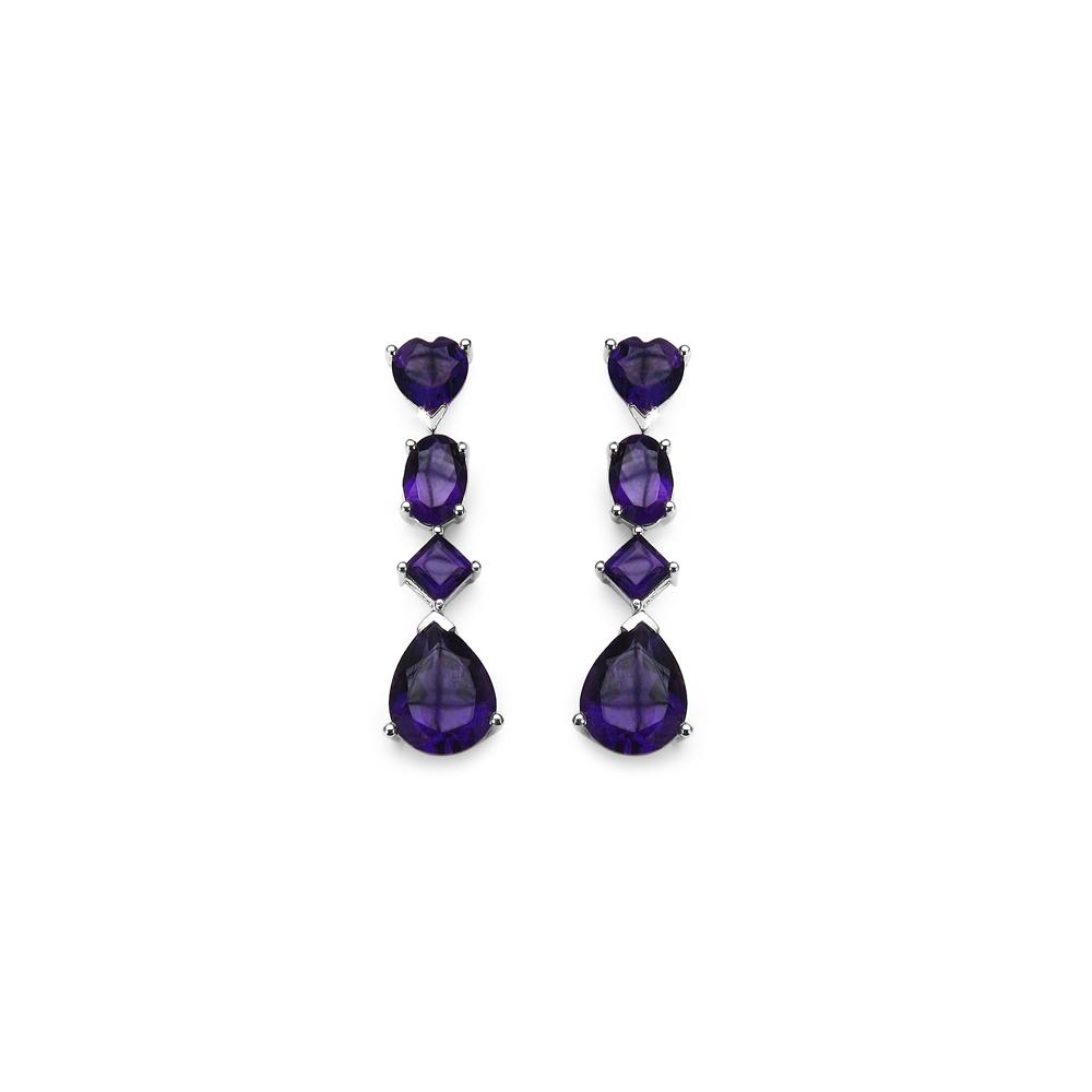 Lot 3180: 6.60 CTW Genuine Amethyst .925 Sterling Silver Earrings
