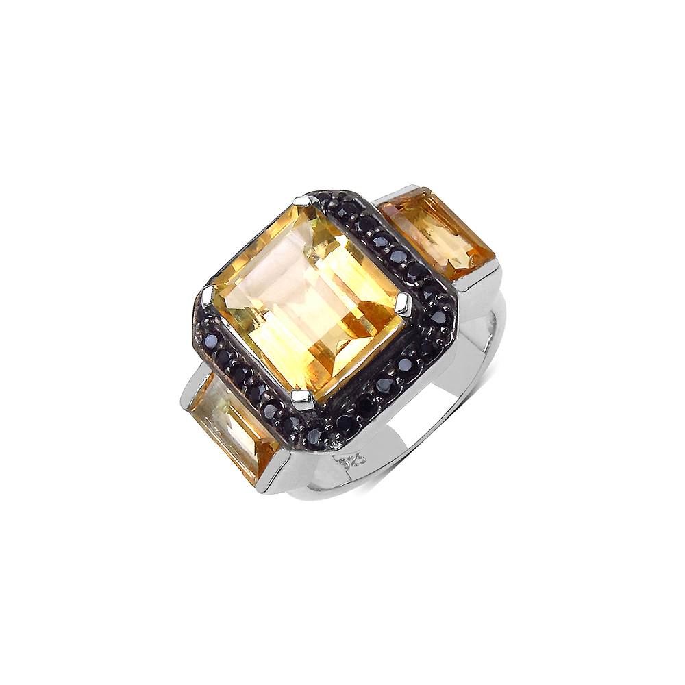 Lot 3189: 7.60 CTW Citrine & Black Spinel Ring in Sterling Silver