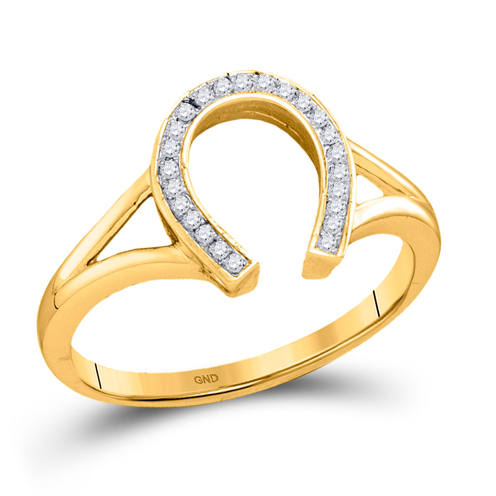 Diamond Horseshoe Lucky Ring 10kt Yellow Gold