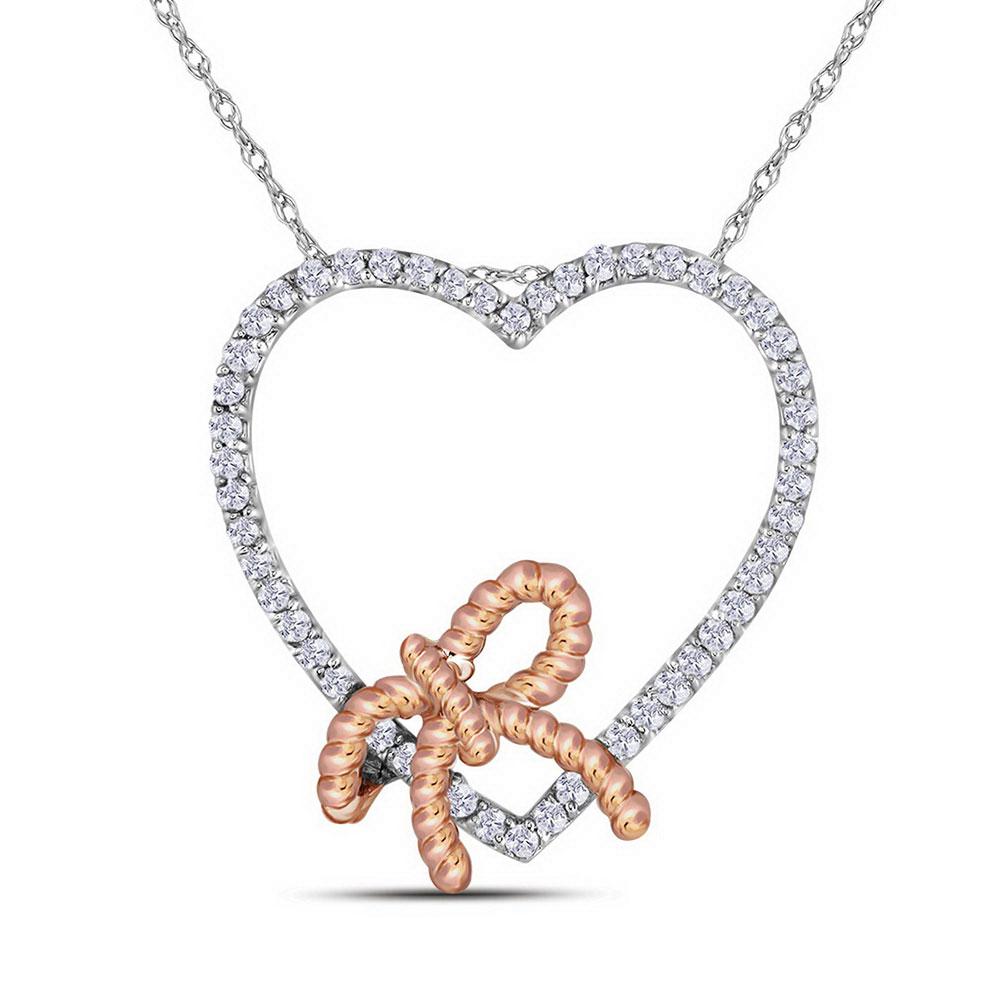 Diamond Rose-tone Rope Knot Bow Heart Pendant 10kt White Gold