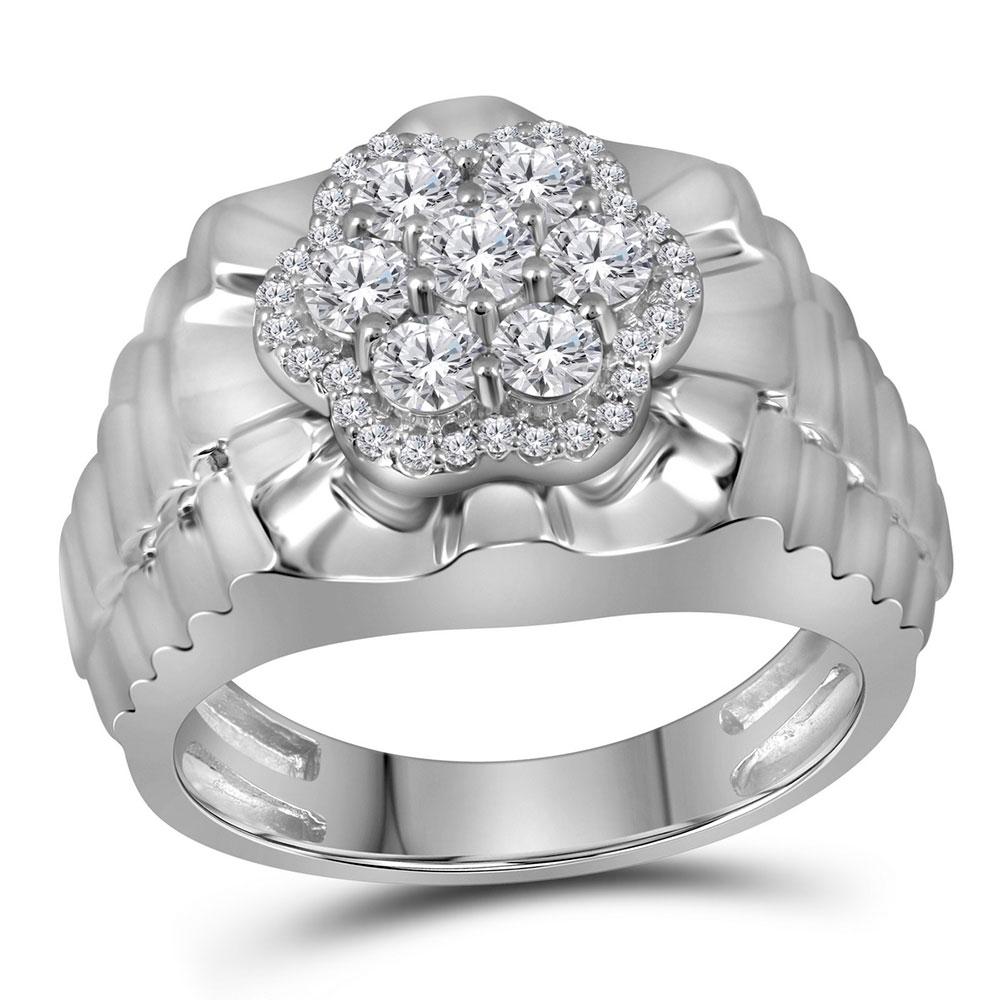 Mens Diamond Flower Cluster Ribbed Ring 10kt White Gold
