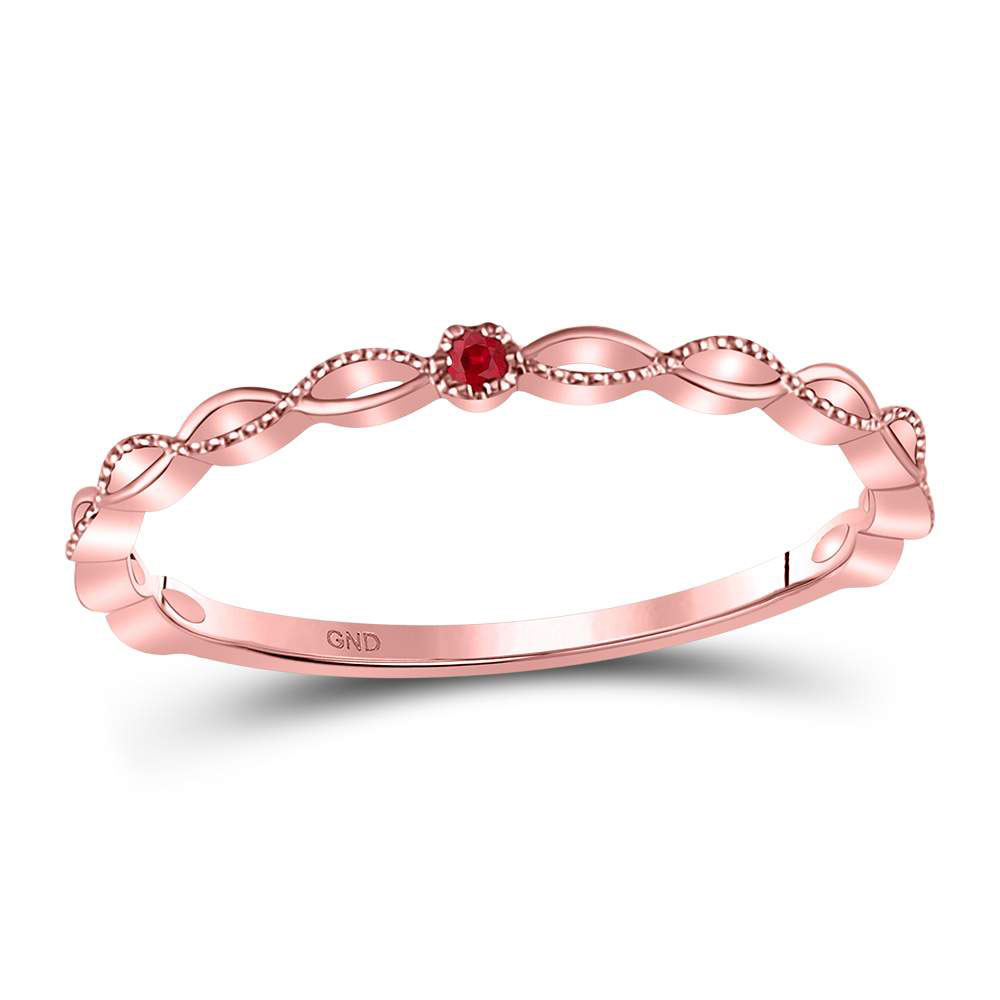 Ruby Solitaire Beaded Stackable Band 10kt Rose Gold