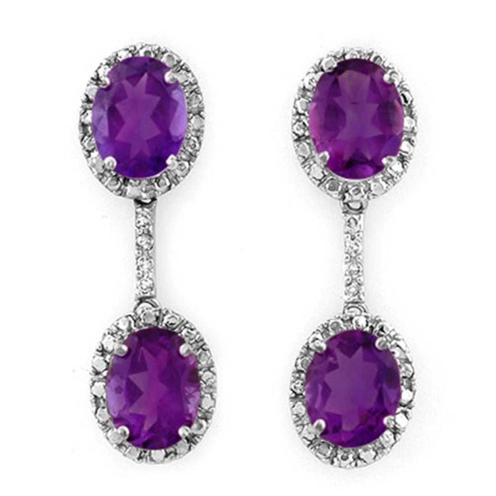 7.10 CTW Genuine Amethyst & Diamond Earrings 10K White Gold