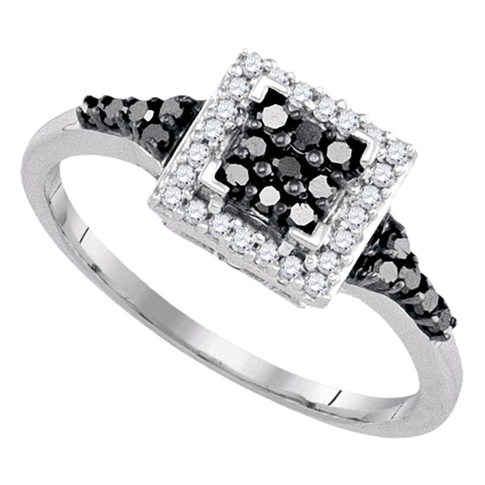 Black Color Enhanced Diamond Square Halo Cluster Ring Sterling Silver