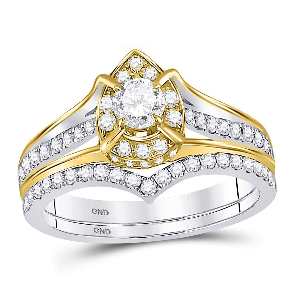 Diamond Bridal Wedding Engagement Ring 14kt Two-tone Gold