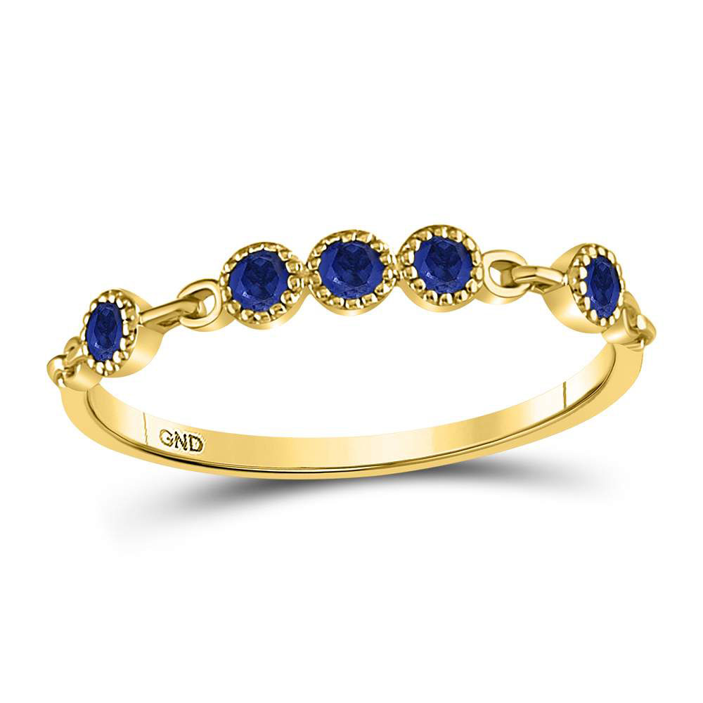 Blue Sapphire Dot Stackable Band 10kt Yellow Gold