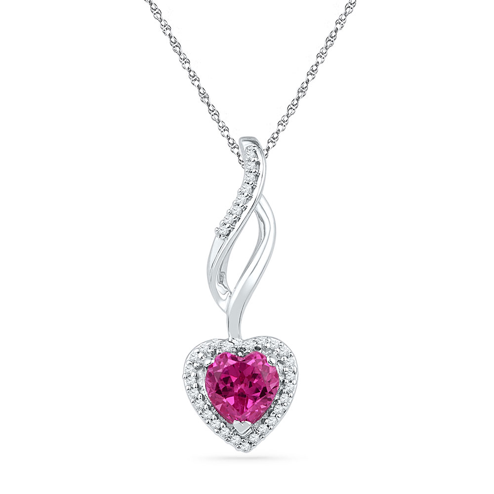 Lab-Created Pink Sapphire Solitaire Pendant 10kt White Gold