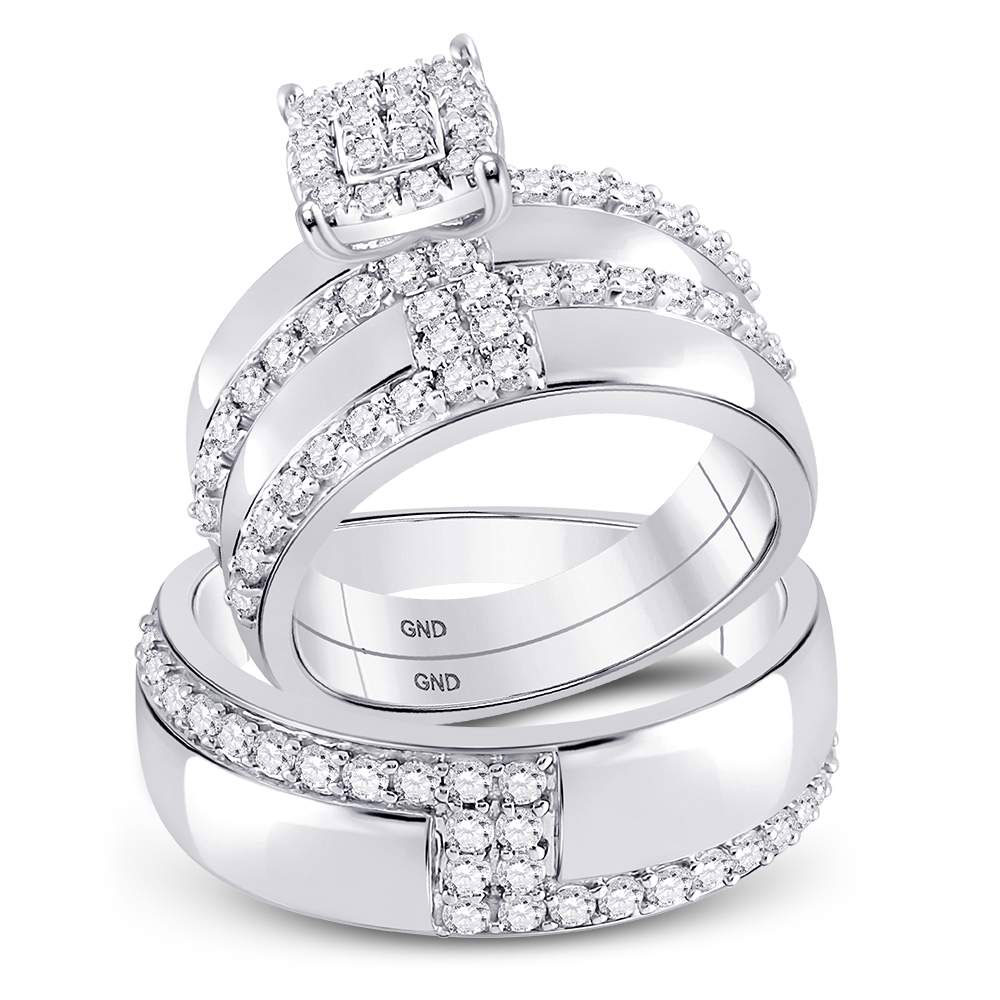 Lot 30013: His & Hers Diamond Cluster Matching Bridal Wedding Ring 14kt White Gold