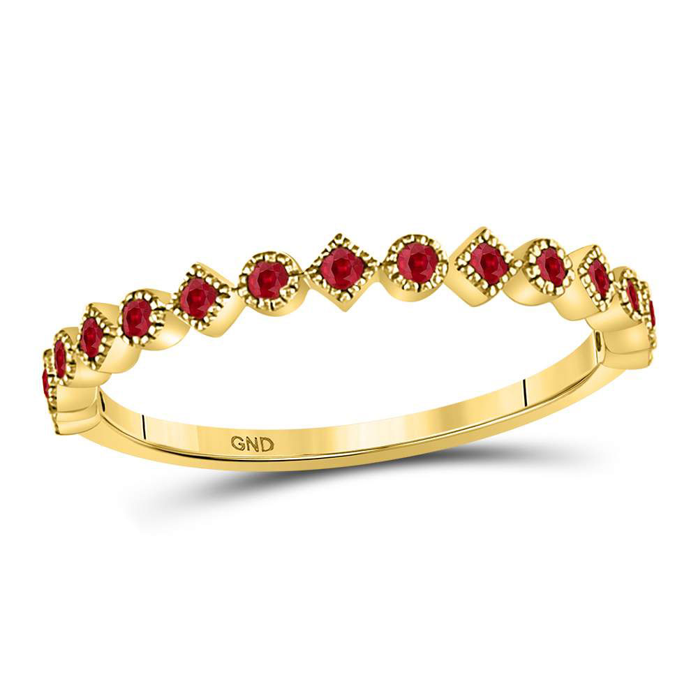 Ruby Square Dot Stackable Band 10kt Yellow Gold
