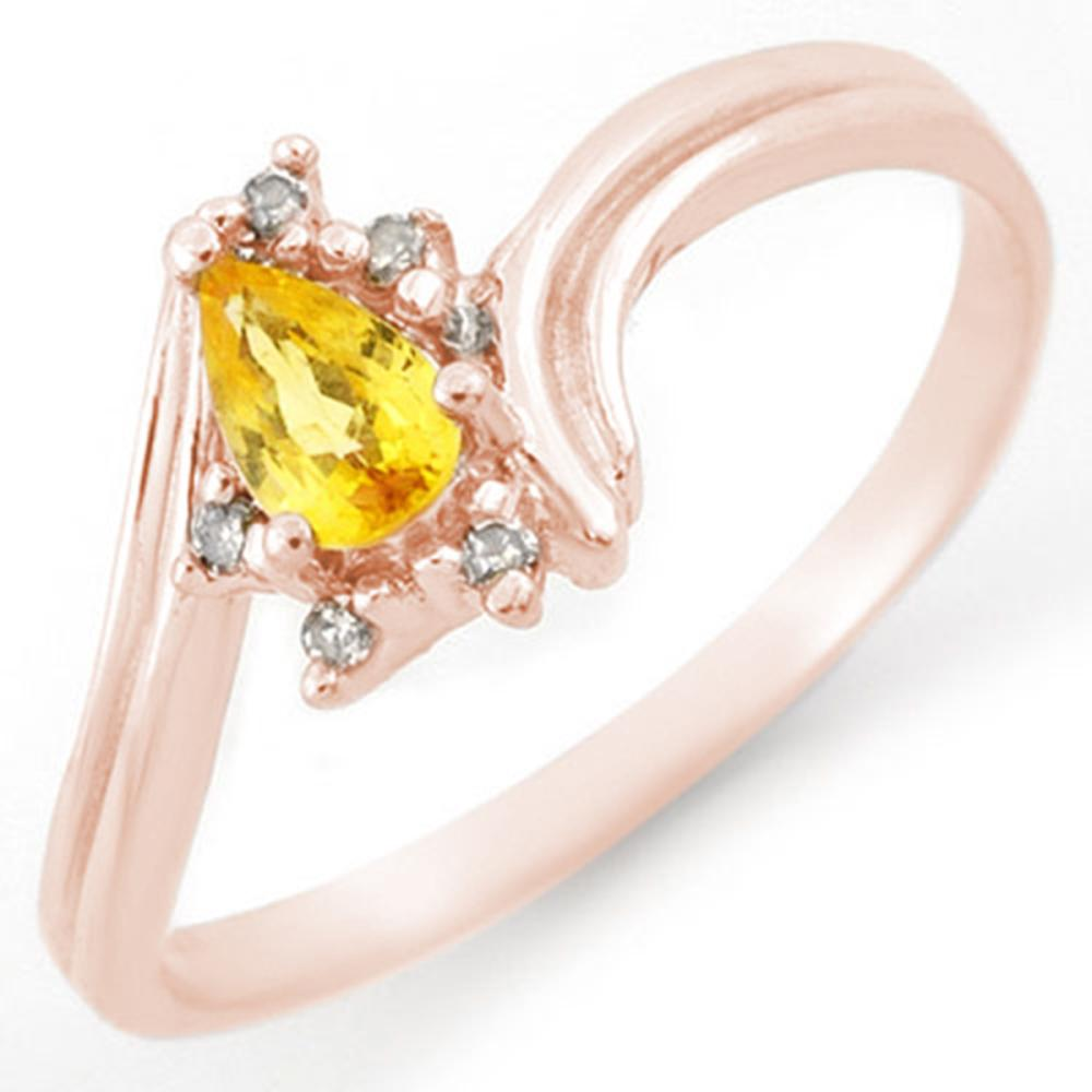 0.35 CTW Genuine Yellow Sapphire & Diamond Ring 18K Rose Gold