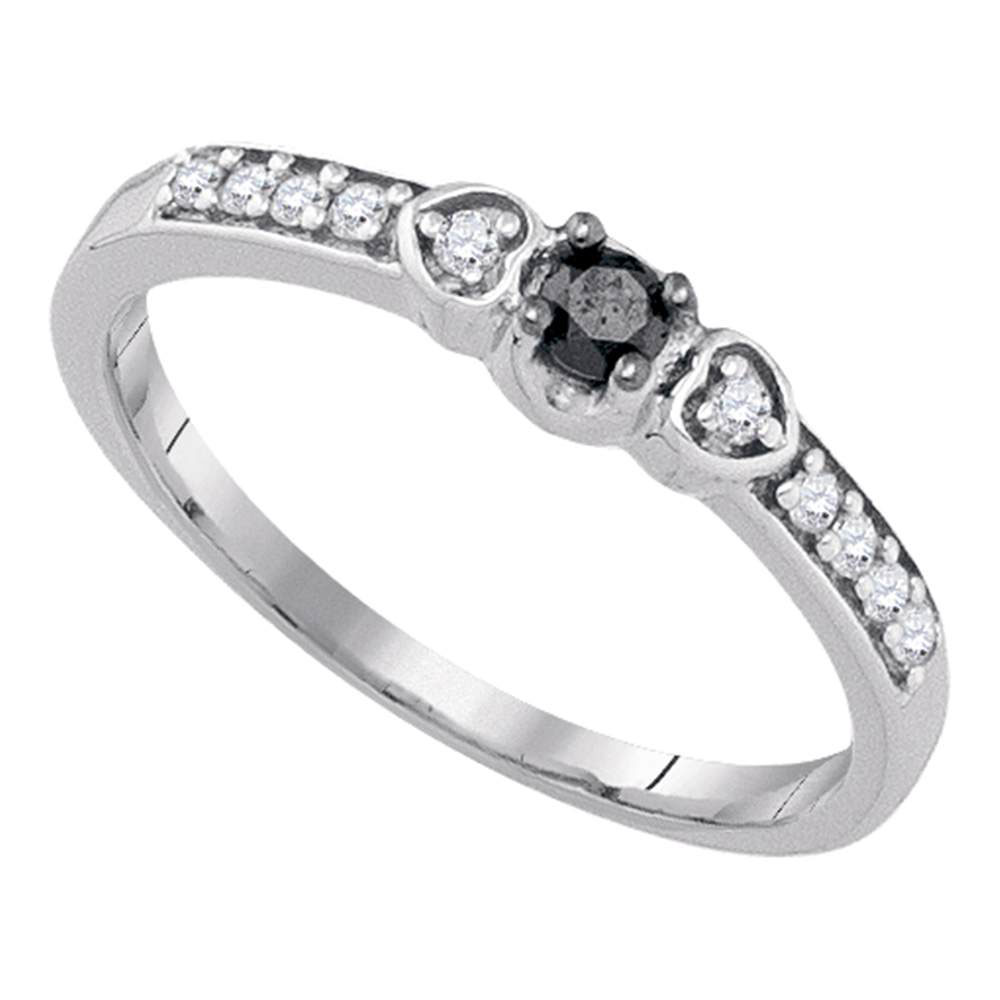 Black Color Enhanced Diamond Solitaire Bridal Wedding Engagement Ring 10kt White Gold