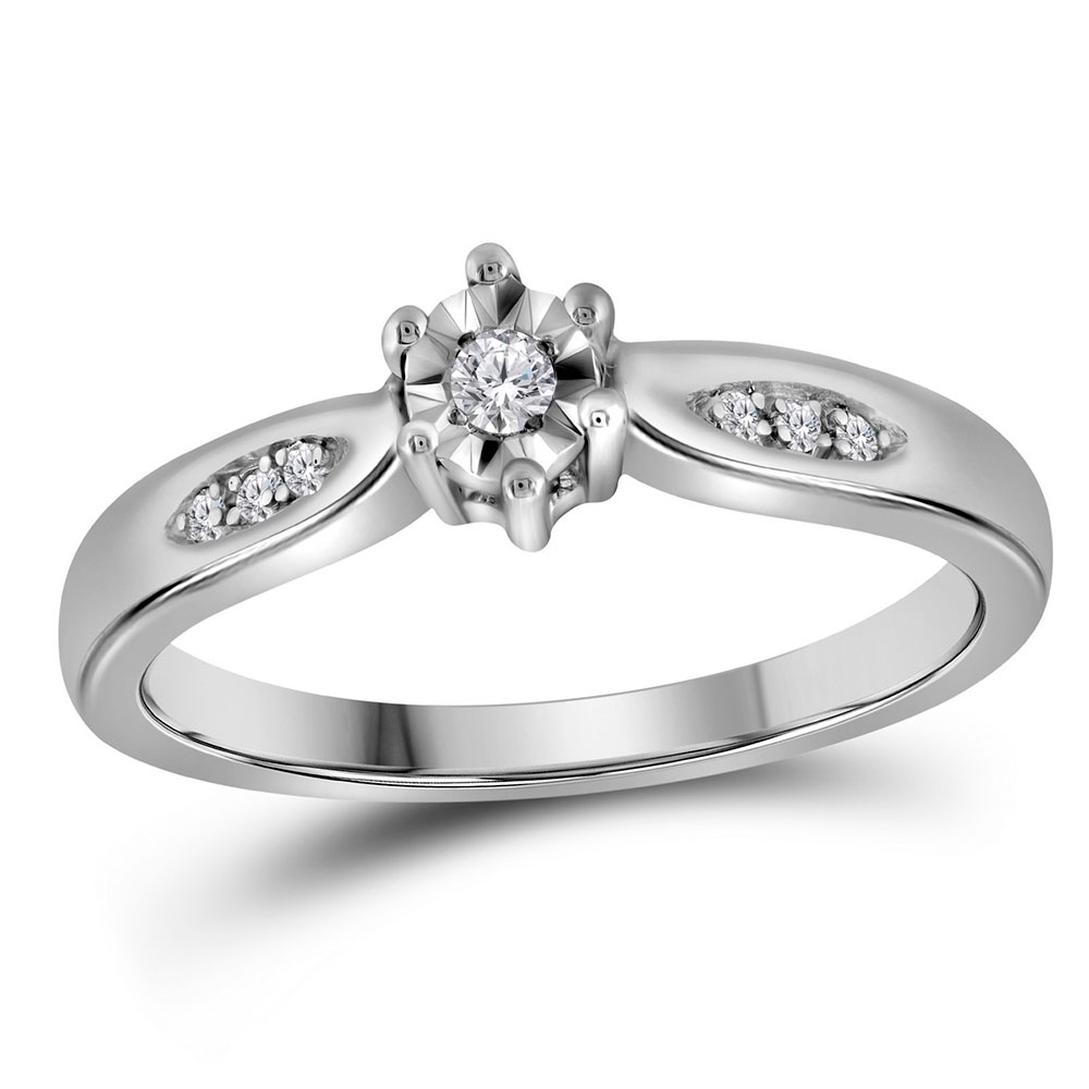 Diamond Solitaire Bridal Wedding Engagement Ring Sterling Silver