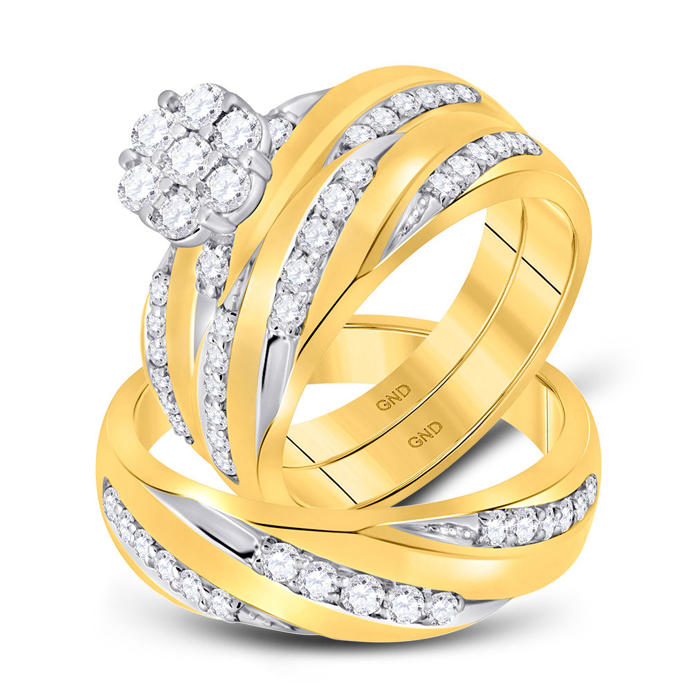 Lot 30025: His & Hers Diamond Cluster Matching Bridal Wedding Ring 10kt Yellow Gold