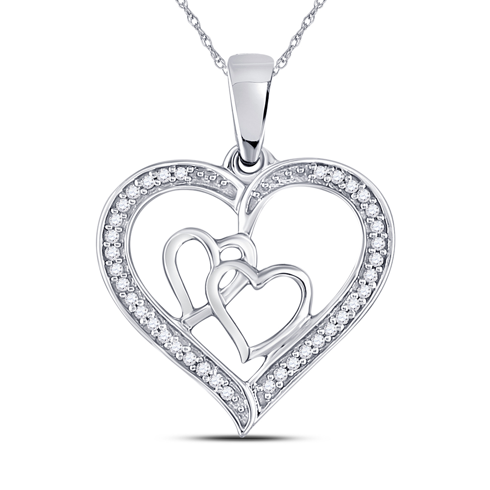 Diamond Triple Heart Outline Pendant Sterling Silver