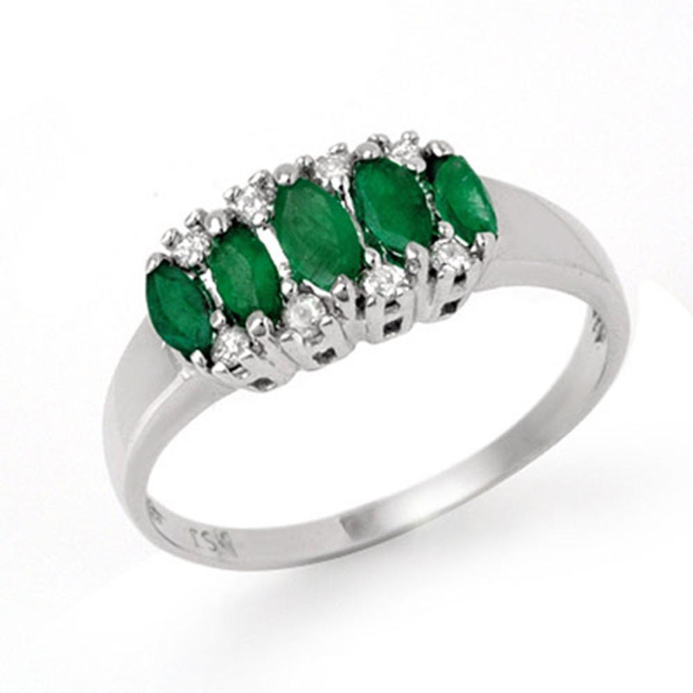 0.77 CTW Genuine Emerald & Diamond Ring 14K White Gold