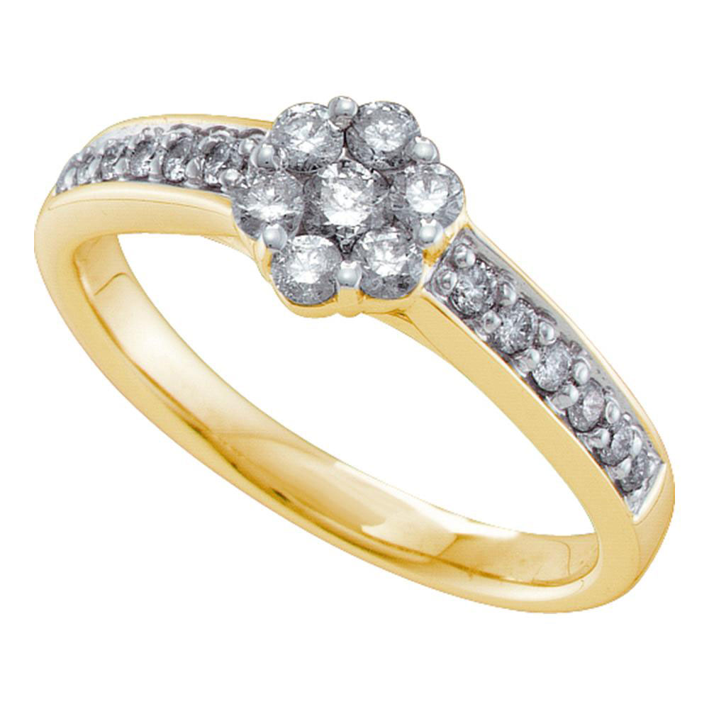 Lot 30033: Diamond Flower Cluster Ring 14kt Yellow Gold