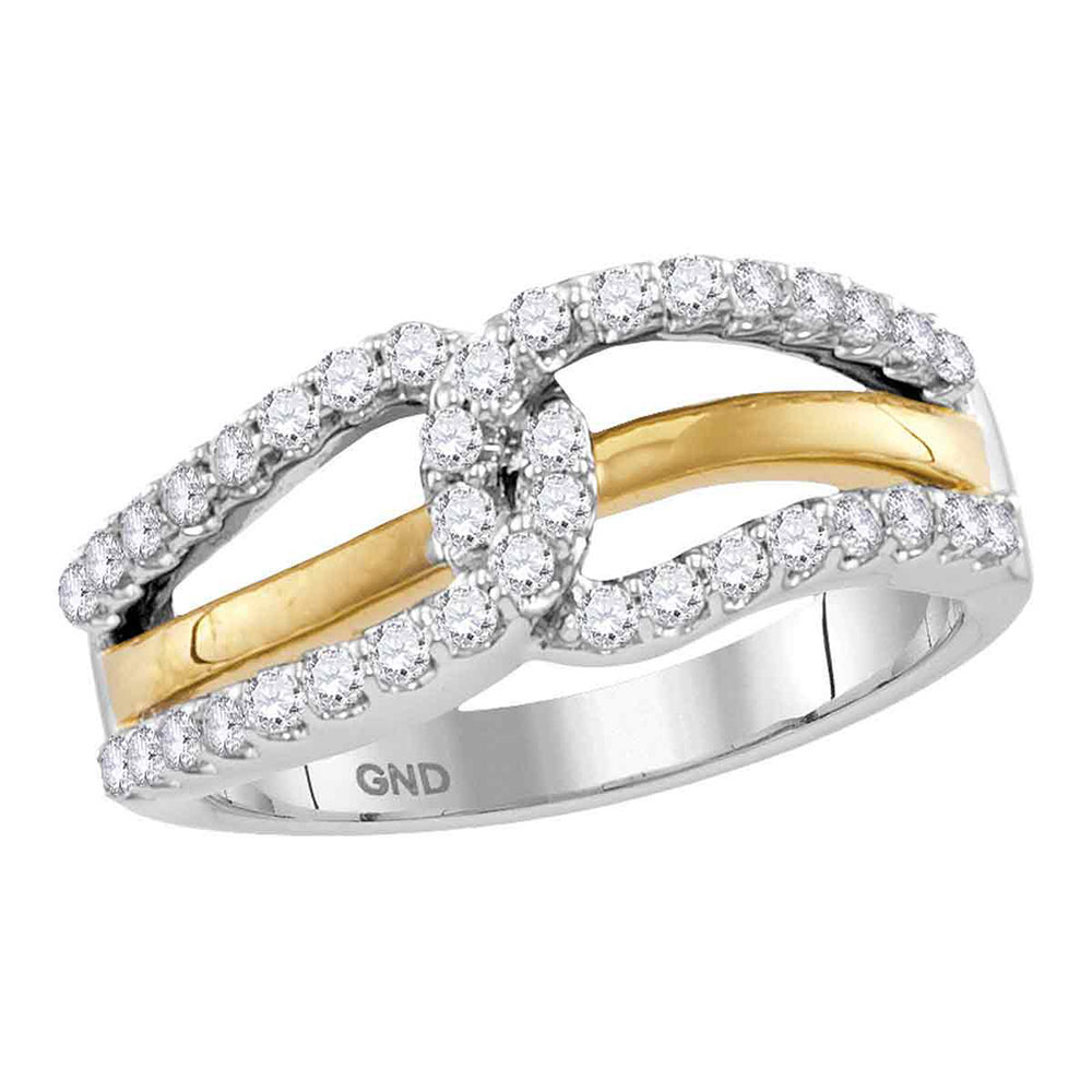 Diamond Lasso Loop Band 10kt Two-tone White Yellow Gold