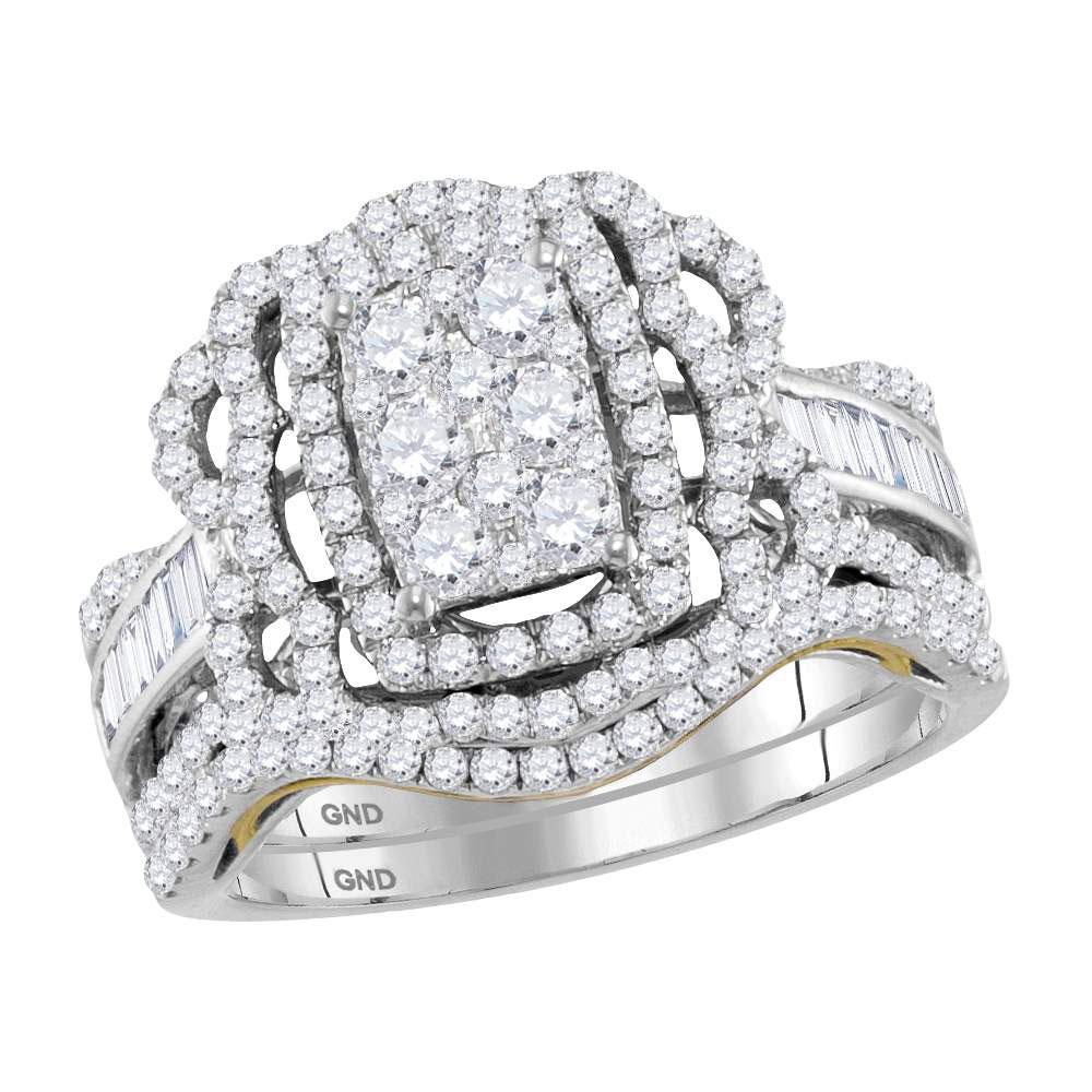 Diamond Bridal Wedding Engagement Ring 14kt Two-tone White Gold
