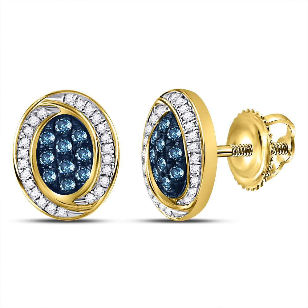 Lot 30038: Blue Color Enhanced Diamond Oval Cluster Earrings 10kt Yellow Gold