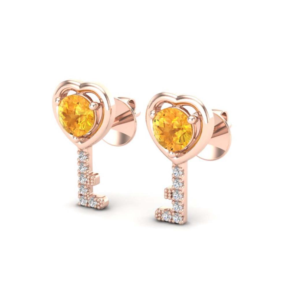 0.60 CTW Genuine Citrine & Diamond Key Of Heart Earrings 14K Rose Gold