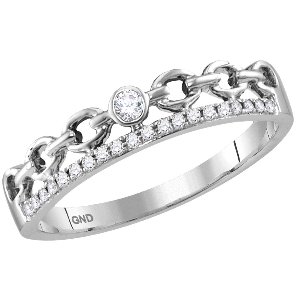 Diamond Rolo Link Stackable Band 14kt White Gold