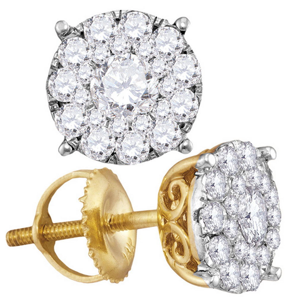 Diamond Cluster Earrings 14kt Yellow Gold