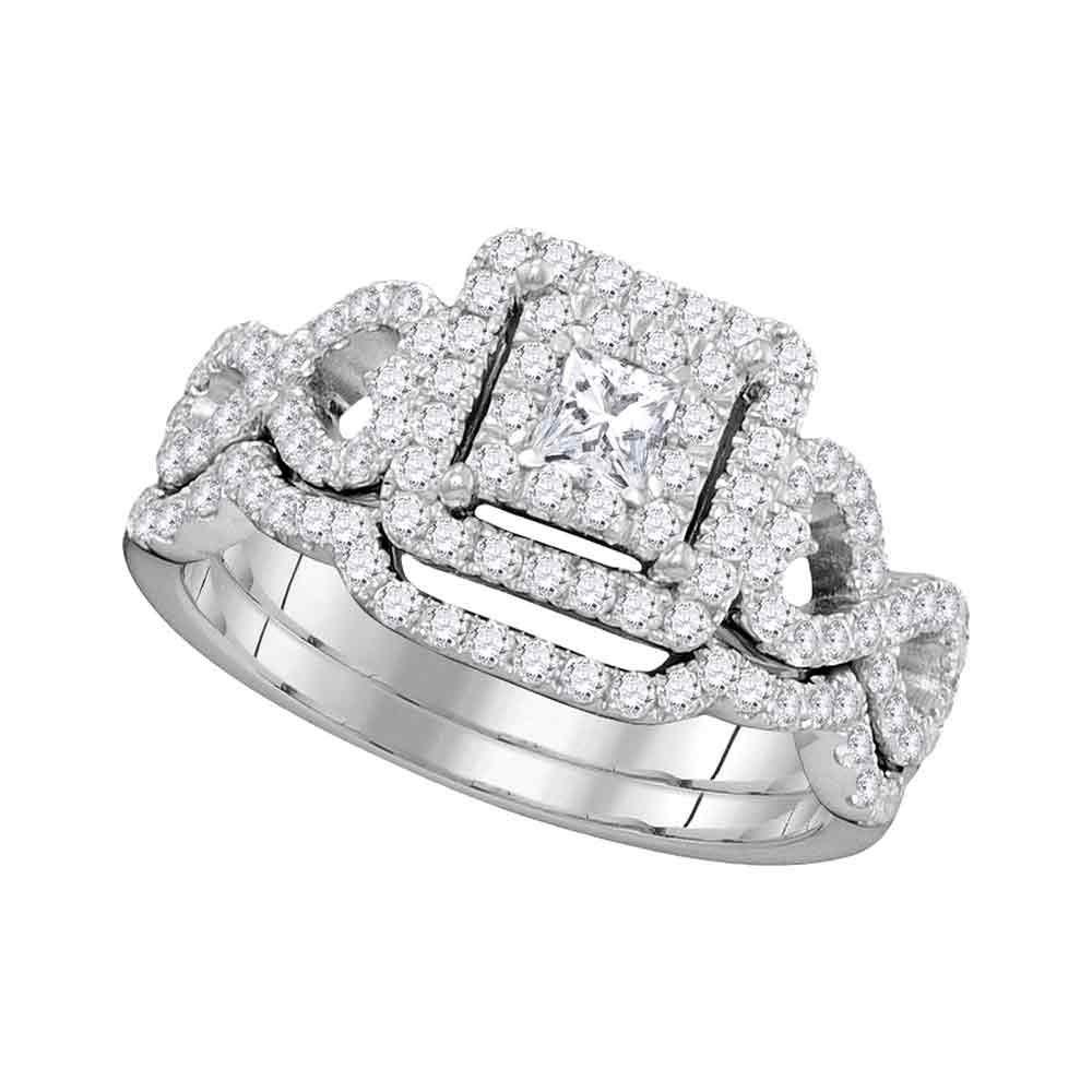 Princess Diamond Woven Bridal Wedding Engagement Ring 14kt White Gold