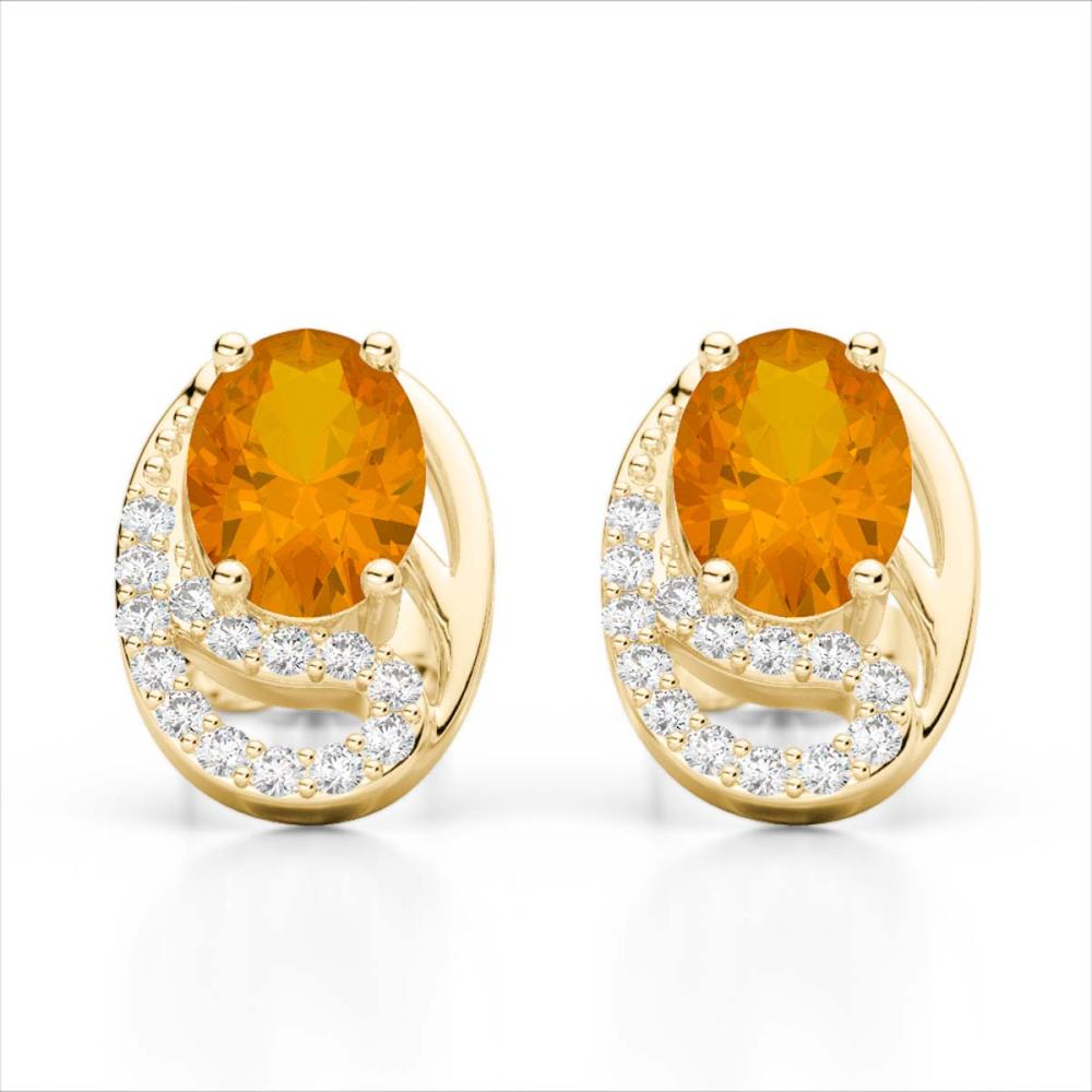 Lot 30048: 2.50 Citrine & SI1-SI2 Diamond Stud Earrings 10K Yellow Gold