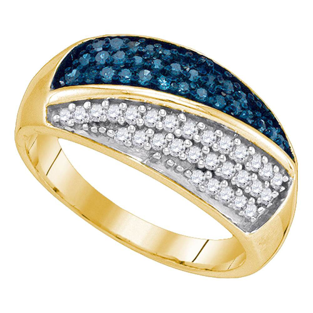 Blue Color Enhanced Diamond Double Stripe Cluster Band 10kt Yellow Gold