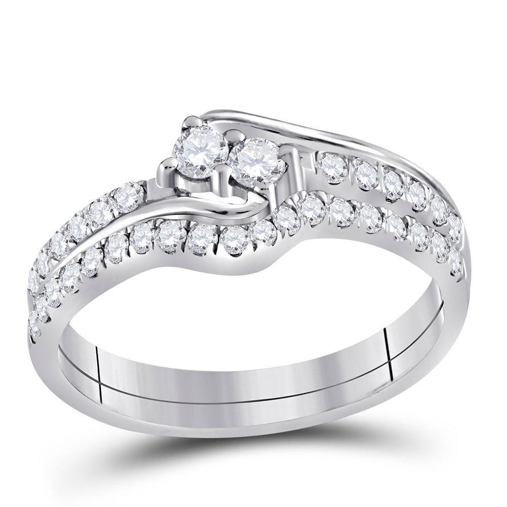 Diamond 2-stone Bridal Wedding Engagement Ring 10kt White Gold