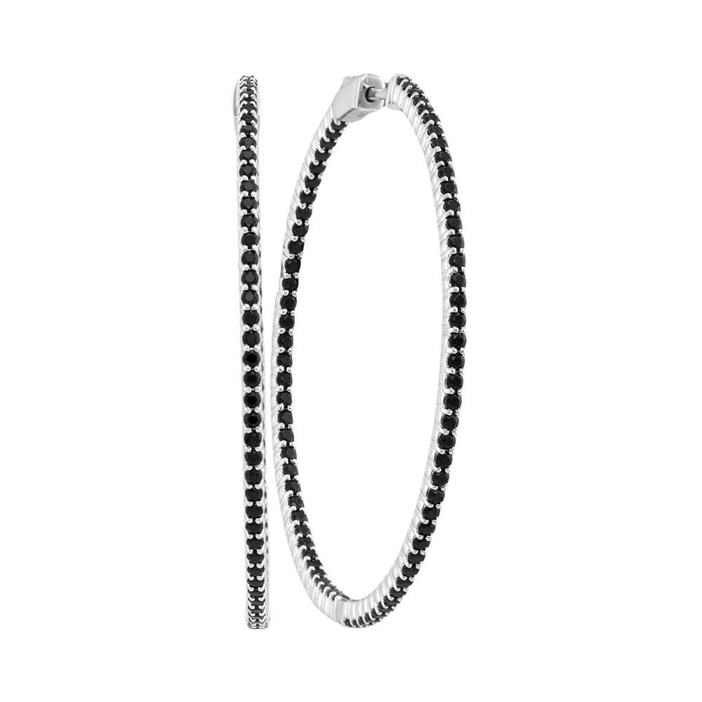 Natural Black Sapphire Slender Hoop Earrings 14kt White Gold