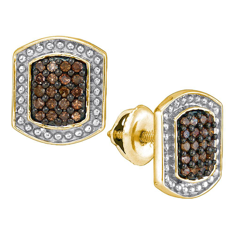 Brown Diamond Cluster Earrings 10kt Yellow Gold