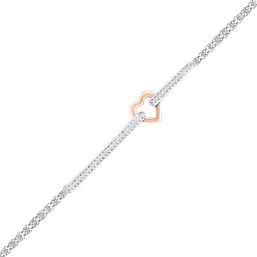 Diamond Heart Fashion Bracelet 14kt Two-tone Gold