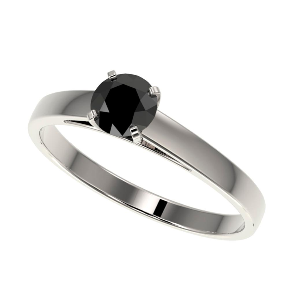 0.50 CTW Genuine Fancy Black Diamond Solitaire Ring 10K White Gold