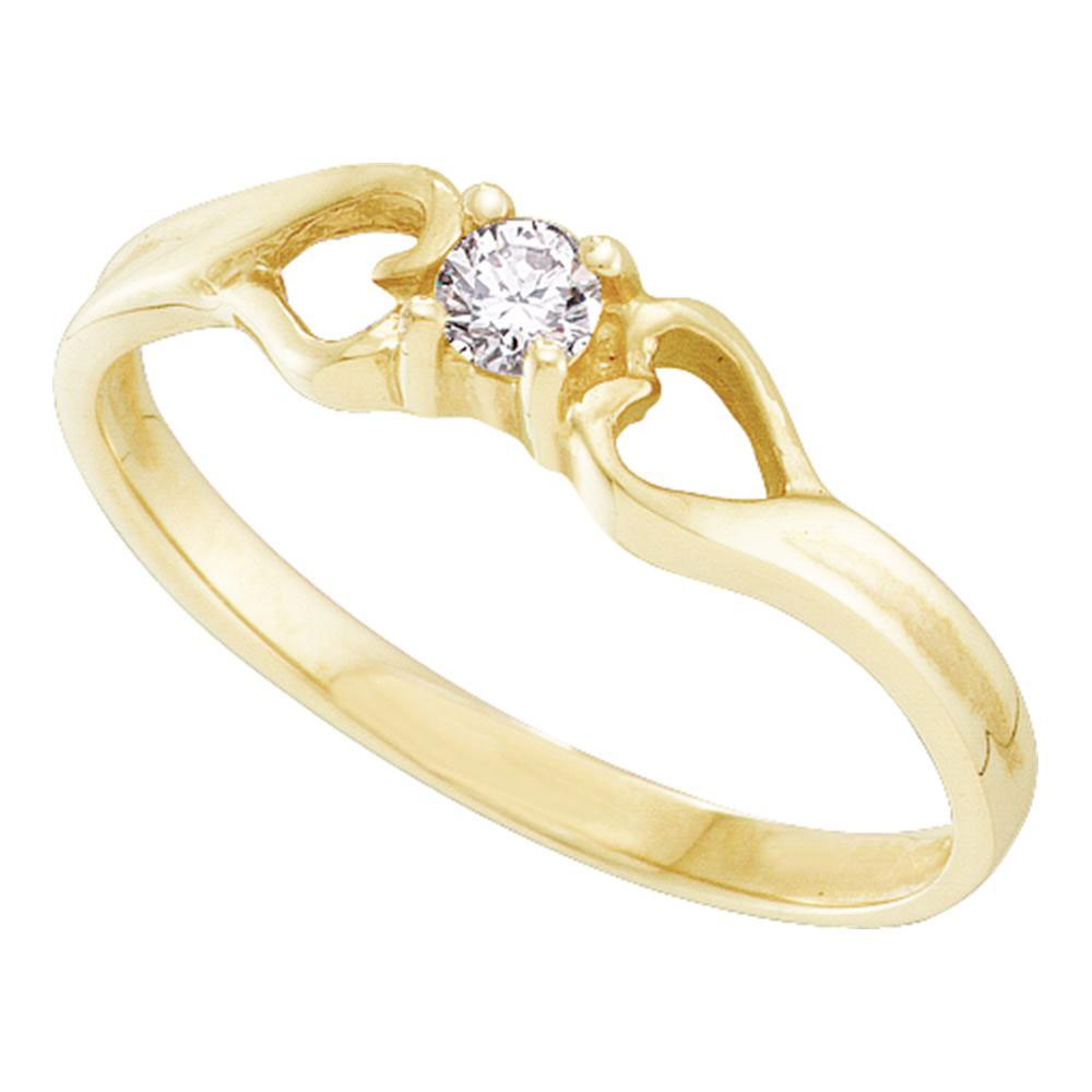 Diamond Solitaire Heart Promise Bridal Ring 10kt Yellow Gold
