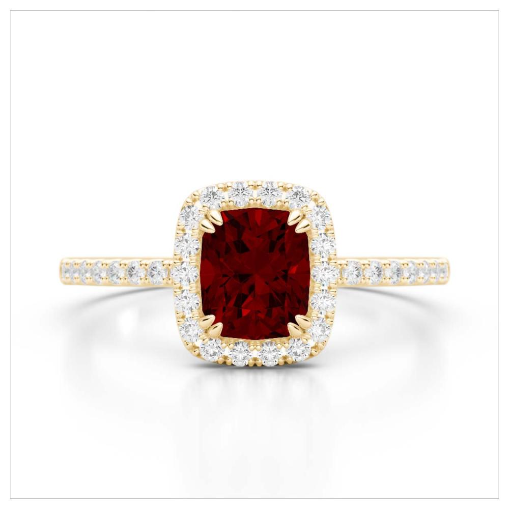 1.25 CTW Genuine Garnet & SI1-SI2 Diamond Ring 10K Yellow Gold