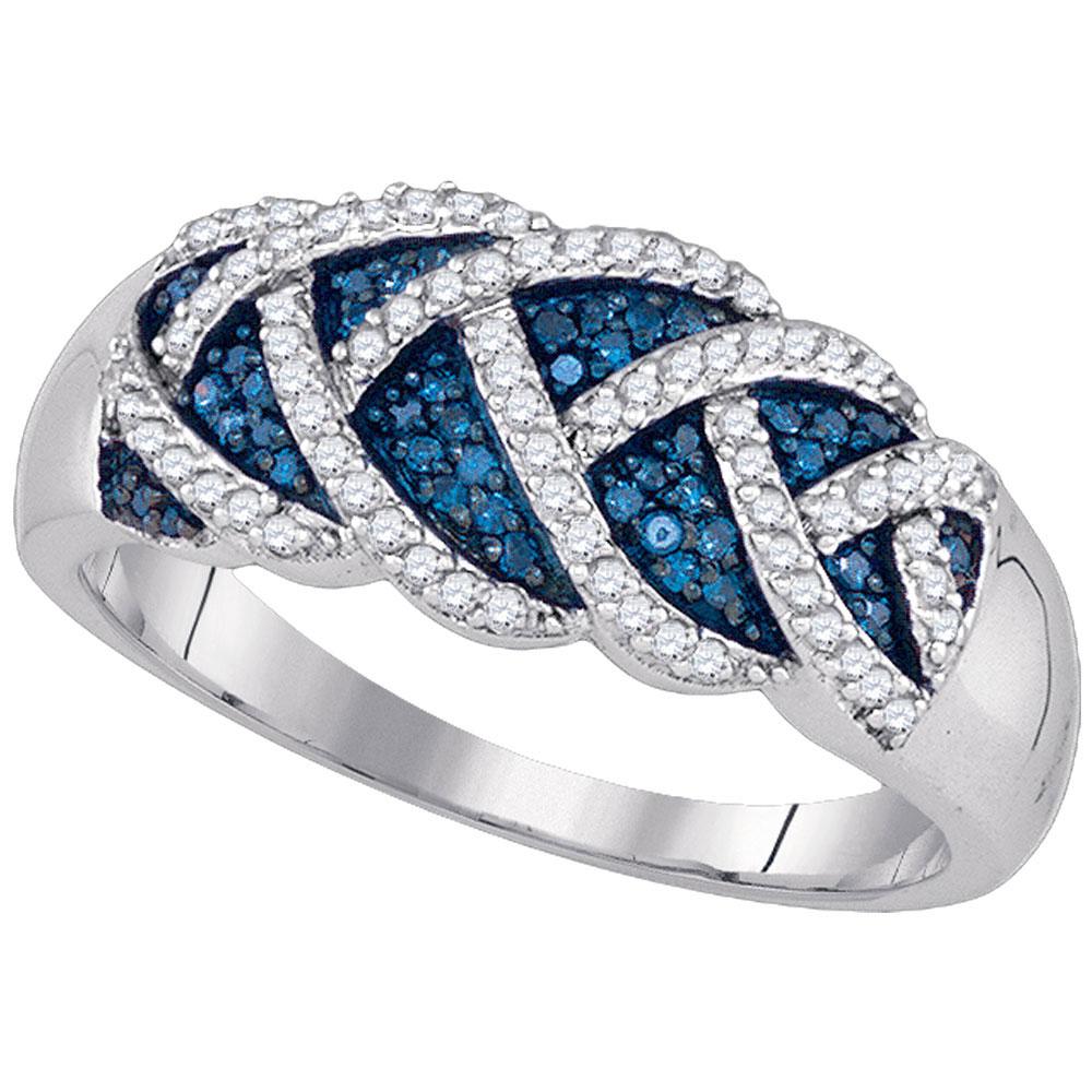 Blue Color Enhanced Diamond Braid Band 10kt White Gold