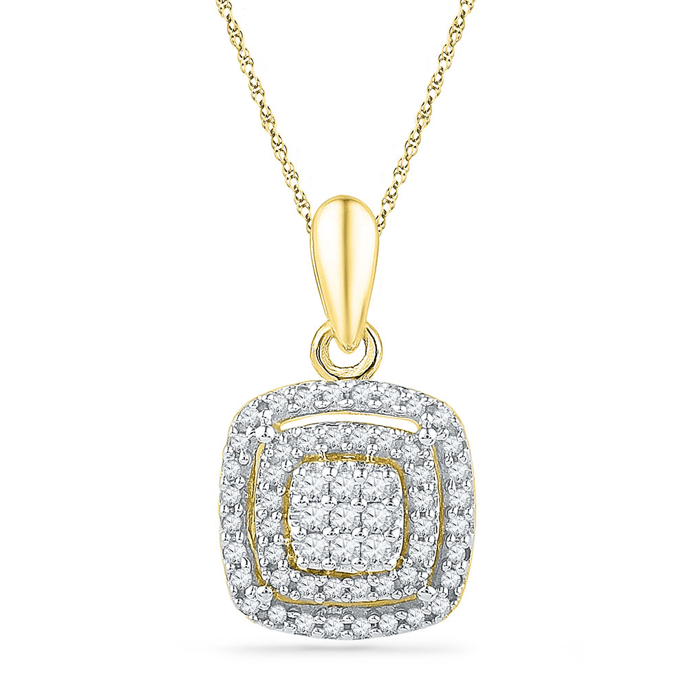 Lot 30073: Diamond Square Frame Cluster Pendant 10kt Yellow Gold