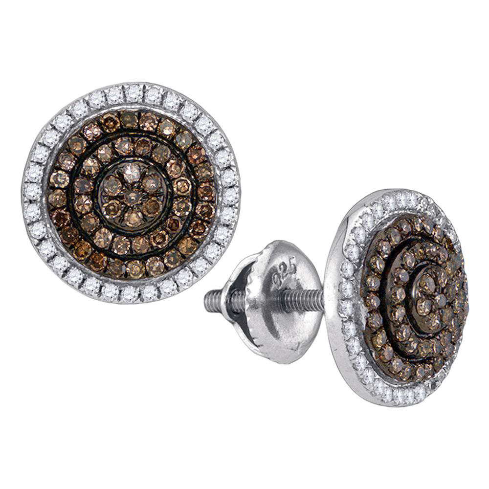 Brown Diamond Concentric Cluster Earrings 10kt White Gold