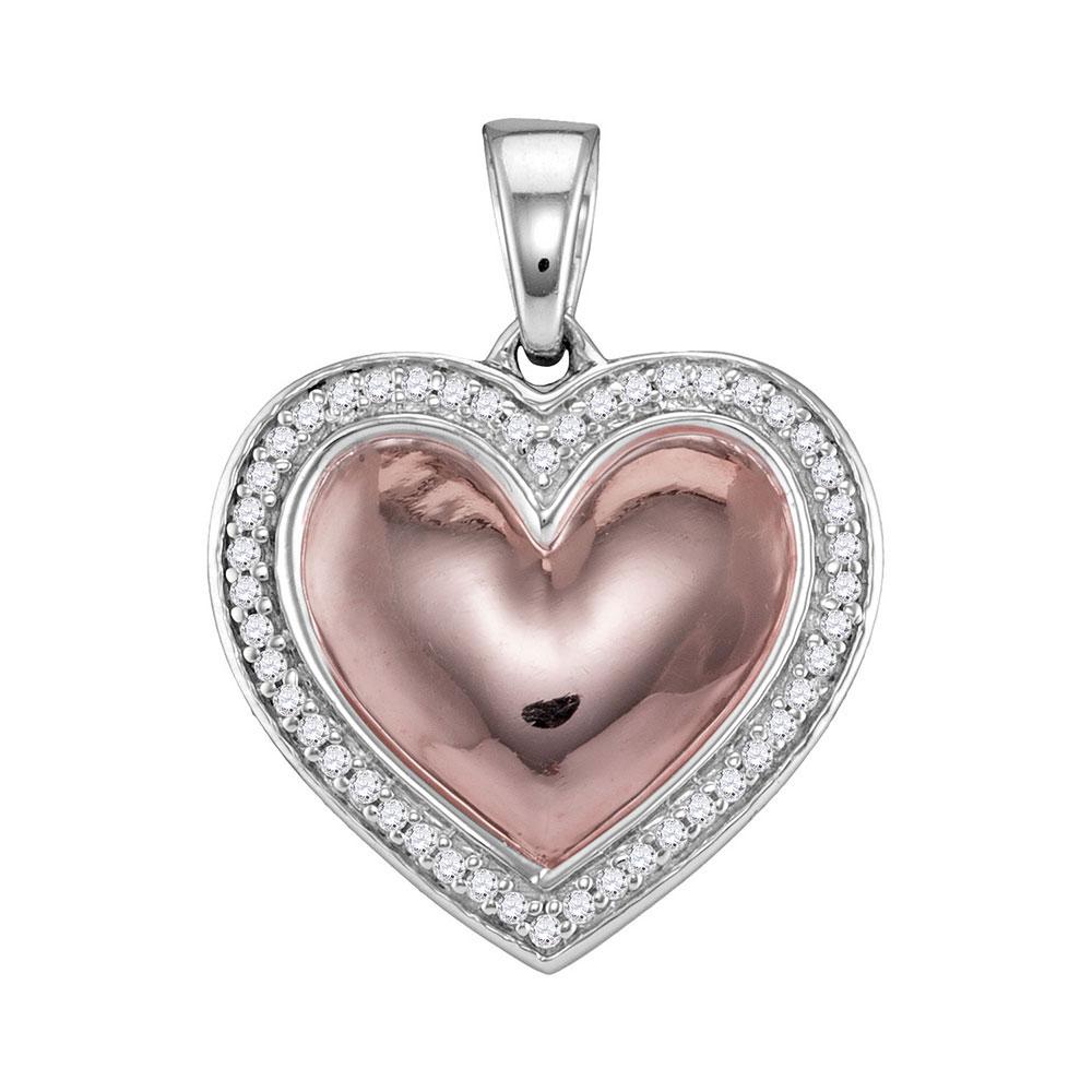 Diamond Framed Heart Pendant 10kt White Rose-tone Gold