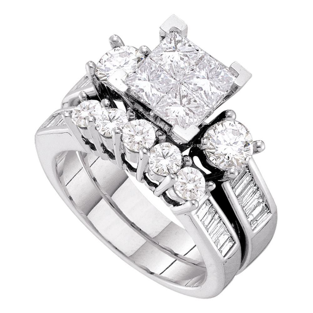 Princess Diamond Bridal Wedding Engagement Ring 14kt White Gold