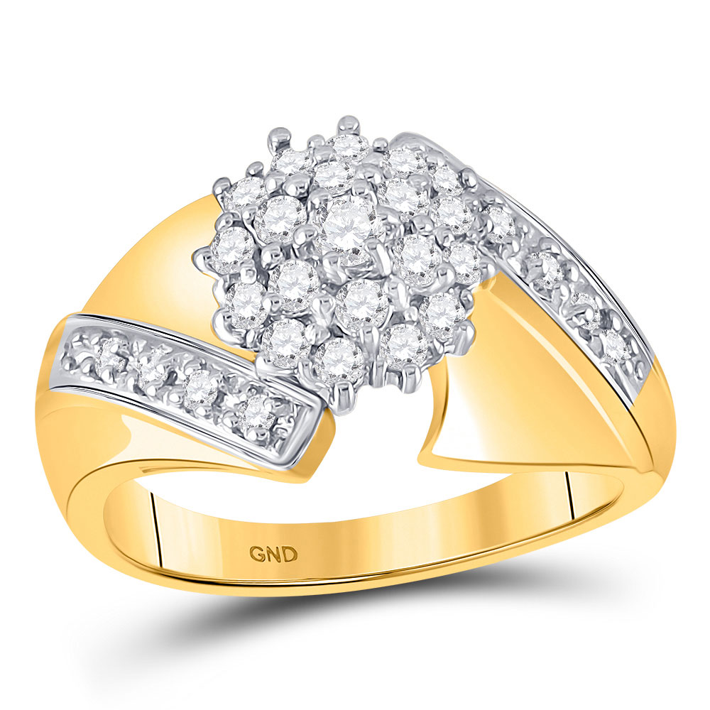 Diamond Flower Cluster Ring 10kt Yellow Gold