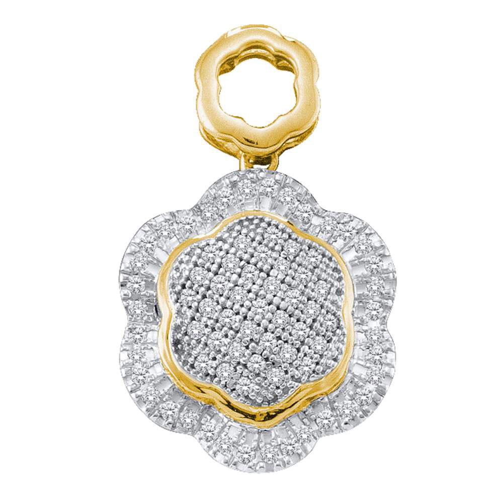 Lot 30086: Diamond Hexagon Frame Cluster Pendant 10kt Yellow Gold